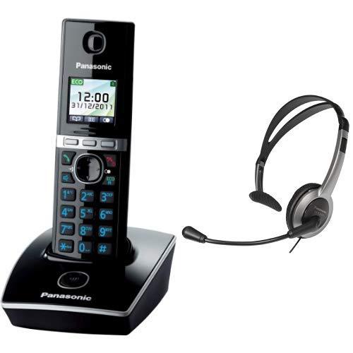 Panasonic KX-TG8051GB Schnurlos Telefon (1 Mobilteil) schwarz & RP-TCA430E-S Headset für KX-TGxx Serie