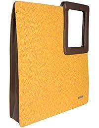 Veuza Athens Premium Jacquard And Faux Leather Sun Yellow Women's Tote Bag