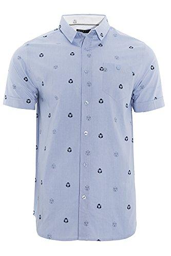 Brave Soul Herren Blusen Freizeit-Hemd blau blau Small Himmelblau