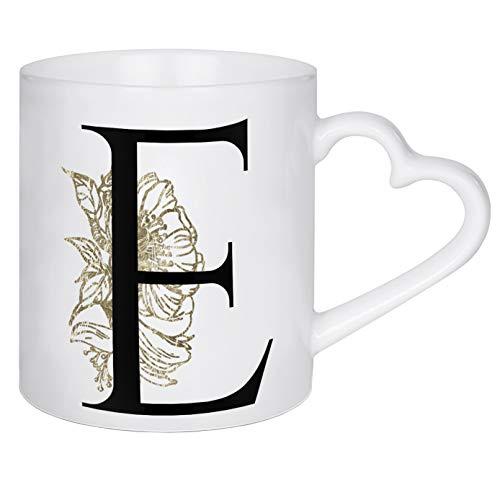 artboxONE Herztasse E ? Flowers Gold von Dunja Krefft - Herztasse Buchstaben/E