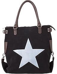 Bags4Less XL Canvas Damentasche Henkeltasche mit Leder Stern / Printstern / Velours-Leder F3151
