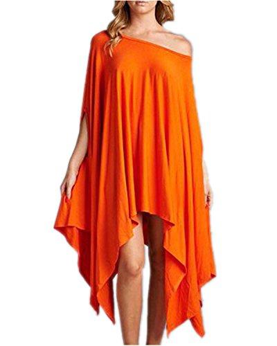 ZANZEA Femme Loisir Lâche Epaule Irrégulier Habillé Longues Haut Mini Robe Orange