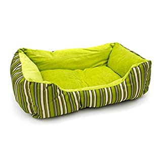 Aleko PB06STGR Plush Pet Cushion Crate Bed for Dogs Cats Medium Machine Washable Indoor Outdoor with Removable Insert Pillow 20 x 16 x 6 Inches Green Striped
