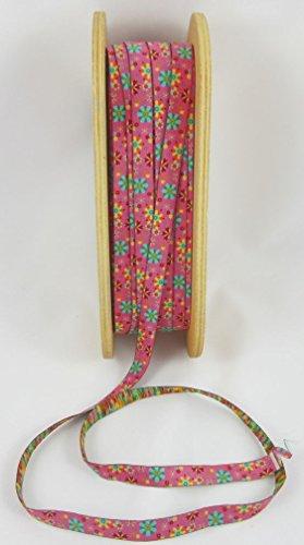 Designer: Lila-Lotta Design Fleurs Mandala Rose - Couleur : Rose - Ruban en Tissu, Vendu au mètre, 1 mètre, Cousu
