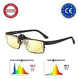 KLIMTM OTG - Gafas de Clip para Bloquear la luz Azul - Nuevas - Alta protección Frente a la Pantalla - Gafas Gaming para PC, móvil, TV - Anti Fatiga, Anti luz Azul - Filtran la luz Azul