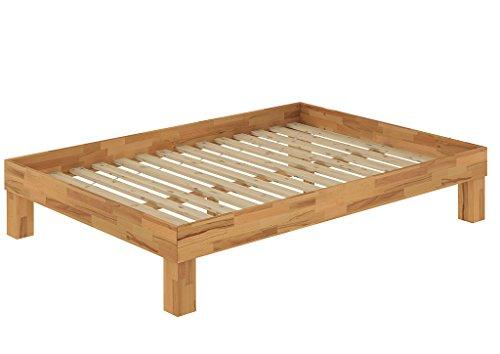 Französisches Bett Doppelbett 140x200 Bio Buche natur geölt Bettrahmen Futonbett 60.87-14 Französisch Bett