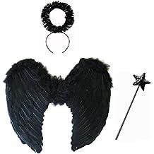 One4All Buy® grandi ali in piume nere con Tinsel Halo e Sequin Star Wand–Dark Angel costume Halloween party