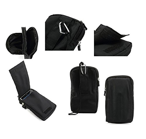 DFV mobile® - Multi-functional Vertical Stripes Pouch Bag Case Zipper Closing Carabiner for => ZTE Obsidian > BLACK XXL (19 X 10.5 cm) - Bag Obsidian