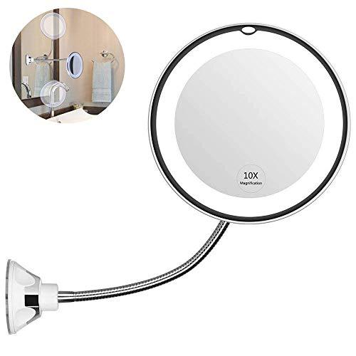 leegoal Espejo de Maquillaje LED con Aumento de 10X, Espejo de tocador del Cuarto de baño con la Ventosa Fuerte y el Cuello de Cisne Flexible Ajustable 360 °, Espejo de Viaje sin Cuerda y Compacto
