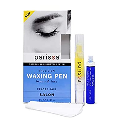 Eyebrow Waxing Pen (4 ml), Parissa Salon Style Wax Hair Removal Waxing Kit for Eyebrows with After Care Azulene Oil by Parissa