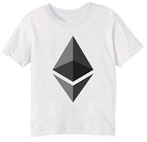 Ethereum ETH Niños Unisexo Niño Niña Camiseta Cuello Redondo Blanco Manga Corta Tama?o M Kids Unisex Boys Girls T-Shirt White Medium Size M