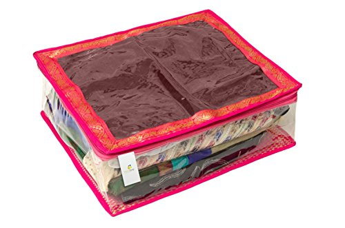Homestrap Large Saree/Lehenga Cover/Wardrobe Organizer-Brocade (Store upto 8 to 10 Sarees) - Pink - Set of 1  available at amazon for Rs.249