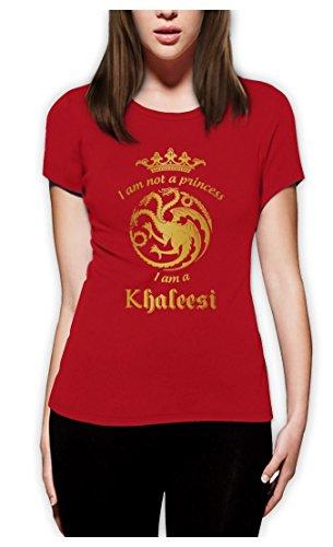 Game I'm Not A Princess I'm A Khaleesi Thrones GOT Damen Rot Medium T-Shirt Slim Fit (Green T-shirt Princess)