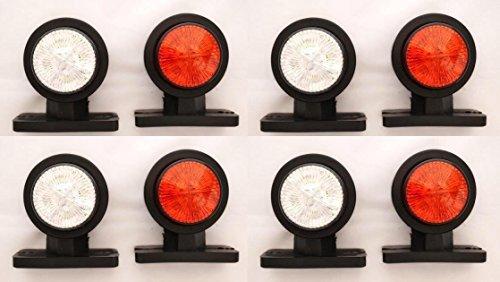 8 pezzi, 12 V 24 V, colore: bianco/rosso a LED per le luci di posizione laterali-Rimorchio e camion, SUV, Camper Caravan, furgoni, autobus