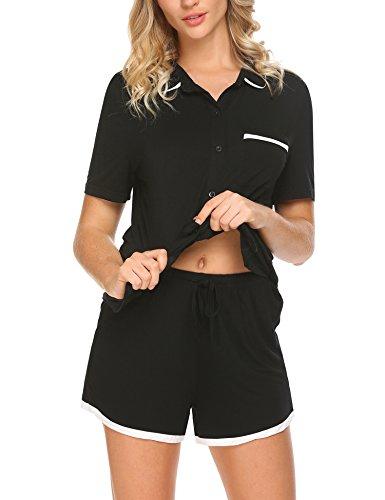 HOTOUCH Damen Baumwolle Pyjama Set Shorty mit Shorts Kurz Schlafanzug Nachtwäsche Nachthemd (Check Short Set Pyjama)