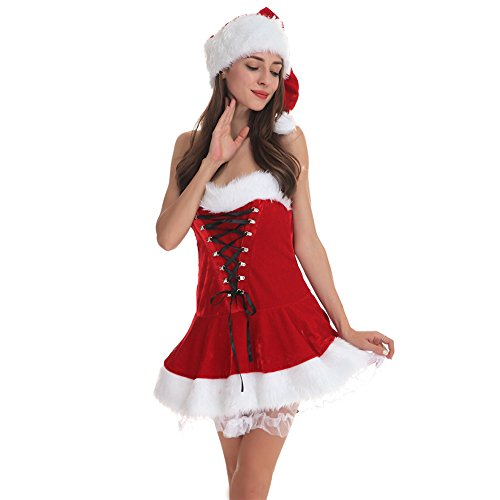 StageOnline Santa Kostüm Christmas Outfit Weihnachtskleid mit Hut Mini trägerloses (Mini Kostüme Kleid Santa)