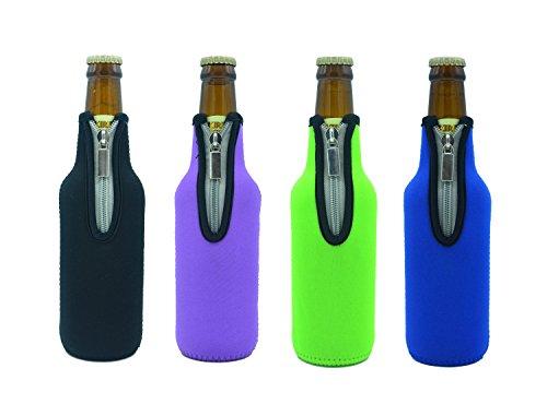 Bier Flaschenkühler, Case Wonder 4 Stück 11,6 Oz (330ml) Neopren Isoliert Reißverschluss Faltbar Bier Flaschen Kühler / Weinkühler / Getränkekühler - Hält Länger Kalt bzw. Warm (Bunt)