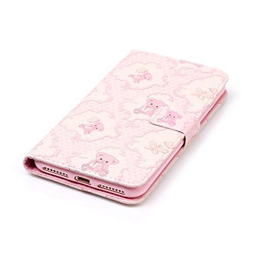 iPhone 7 Plus 2016 Hülle,iPhone 7 Plus 2016 Cover,JAWSEU Niedlich Schwarz Auge Muster Pu Leder Wallet Brieftasche Cover Magnetverschluss Book Style Handyhülle Schutzhülle Ledertasche Case Cover Etui m Pink Bär