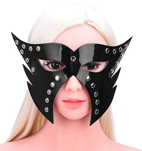 Unbekannt Leder Lackleder Fuchs Maske Spaß Augenmaske Halloween Cosplay Kostüm Maskerade Zubehör Fotografie Requisiten Alternatives Spielzeug,Black
