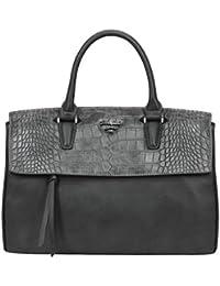 David Jones - Women s Large Top Handle Handbag - Satchel Purse PU Leather  Crocodile Pattern - fcf31e46fd23c