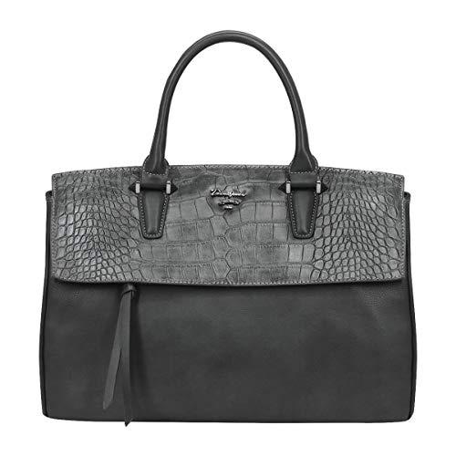 David Jones - Damen Große Tote Handtasche - Schultasche PU Leder Krokodil Muster - Shopper Schultertasche Umhängetasche - Große Kapazität Taschen Dunkelgrau -