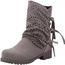 63e8d10a7d4f0 Zapatos Ronda La Plataforma Talon Plano Antideslizante en Calzado Casual Zapatos  Mujer Otoño Invierno 2018 Botas