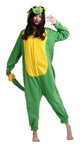 CuteOn Unisexe Adulte Dessin animé Animal Kigurumi Pyjamas Vêtements de nuit Encapuchonné Cosplay Costume Dragon S for Hauteur 140-155CM