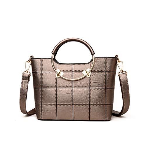 Gjfhome Damen Handtaschen, Damen-Mini-Handtasche Mit Kleinem Taschen- Und Geldbeutelgriff Aus Leder,Bronze -