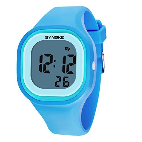 Armbanduhr Damen Männer Uhr DOGZI Damen Uhren Männer, Damen Männer Armbanduhren-Mode Silikon LED Licht Digital Sport Armbanduhr für Kind Frauen Mädchen Männer Junge Stahl Analog Quarz-Armbanduhr (B)