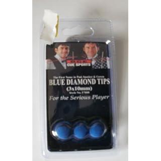 BLUE DIAMOND SNOOKER/POOL 3PK CUE TIPS BCE IN 10mm = NEW & PKD