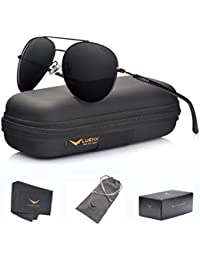 313a9b0481 LUENX Aviator Sunglasses Polarized for Men Women with Sun Glasses Case - UV  400 Black