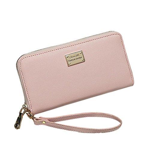 Fulltime® Damen Lady PU Leder Geldbörse Clutches Mädchen Portemonnaie Brieftasche Handtasche Geldbeutel - Lang (Rosa) (Womens Coach Handtasche)