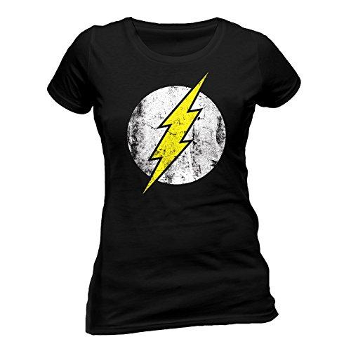 The Flash Logo Skinny Damen T-Shirt Offizielles Lizenzprodukt|schwarz-S -