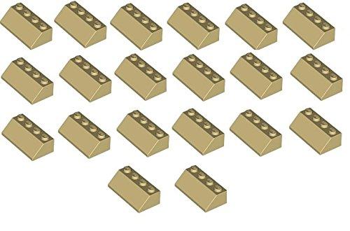 Preisvergleich Produktbild LEGO City - 20 Dachsteine 45° mit 2x4 Noppen in der seltenen Farbe beige - tan - sandfarben