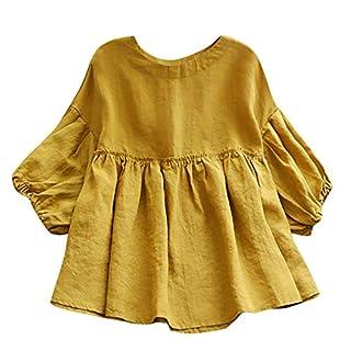 iHENGH Damen Herbst Winter Bequem Lässig Mode Frauen Halbrunde Leinenhemd aus Leinen mit halbem Ausschnitt Solide Bluse Elastische Oberteile(L,Gelb)