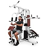 Klarfit Ultimate Gym 9000 • Kraftstation • Fitnessstation • Trainingsstation • 7 multifunktionale Stationen • Beinpresse • Latzug • Curlstation • bis 150 kg • Stahl • inkl. 100 kg Gewichte • weiß