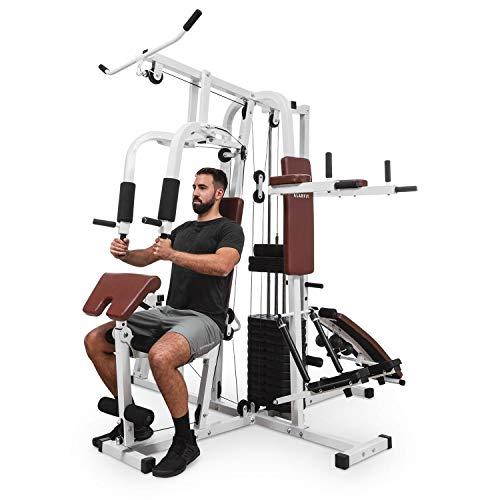 Klarfit Ultimate Gym 9000 • Stazione Fitness • Palestra Multifunzione • Indoor Training • 7 stazioni • Fino a 100 kg • Pila di Pesi • Cavi in Acciaio • Bianco