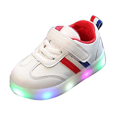 hibote Para 1-6 años de edad Iluminar zapatillas luminosas Niños antideslizantes Niñas Niños Zapatos para niños pequeños Niños pequeños Zapatos deportivos para niñas suaves y ligeros Zapatos con luces LED Rayas