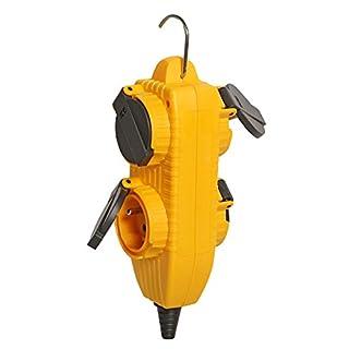 Brennenstuhl Socle multiprise étanche Powerblock 230 V/16 A, bloc de 4 prises (2 P+T 16A/230V) à clapet, jaune, Quantité : 1