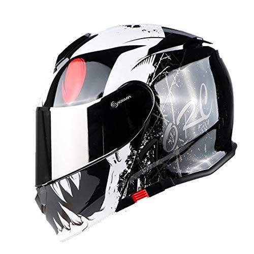 1 Stücke Dual Visier Flip Up Modularer Helm Full Face Motocross Kopfschutz Helm White Monster ()