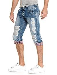 BLZ jeans - Bermuda pantacourt en jean bleu fashion déchiré