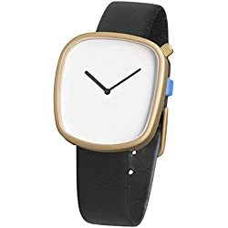 Bulbul Pebble Unisex Quartz Watch with White Dial Analogue Display and Black Leather Strap P07