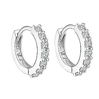 Ohrringe Damen, ACMEDE Greolen Silber Ohrhänger Sterling Silber 925 mit 7 x H&A Zirkonia Schmuck mit Etui Geschenk
