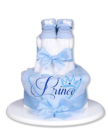 Preisvergleich Produktbild Trend Mama Windeltorte hellblau Junge Lätzchen Babysocken Little Prinz