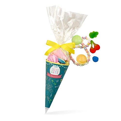 Zuckertüte Einschulung, bunte Schultüte mit toller Süßigkeiten-Mischung in einer Zuckertüte, 120 Gramm, schönes Geschenk zum ersten Schultag