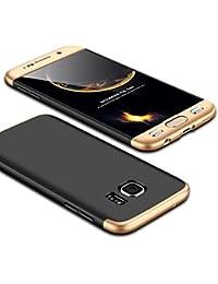 Samsung Galaxy S6 Edge Coque, Galaxy S6 Case 360 Protection PC 3 en 1 Full Cover Housse Integrale Bumper Etui Case Accessoires Ultra Fin Et Discret Pour Samsung Galaxy S6/S6 Edge (Sans protecteur de film en verre trempé) (Galaxy S6 Edge, Or & Noir)
