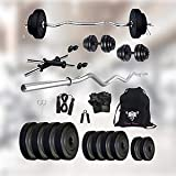 SPORTO FITNESS Leather 20 Kg Weight Plates, 3 ft curl Rod, 2 D. Rods Home Gym Equipment Dumbbell Set {03}