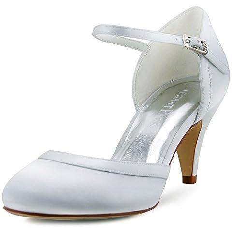 ElegantPark HC1509 Escarpins Femme Bride cheville Boucle Bout rond Mary Janes Satin Chaussures Pompes a Talon de Mariee Blanc 39 (UK 6)