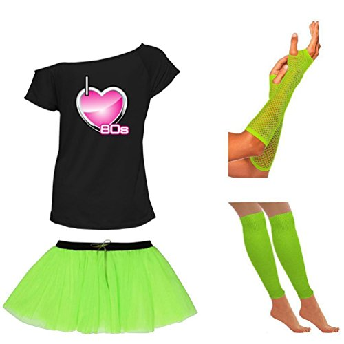 Womens I Love 80s Neon Green Skirt Off Shoulder T Shirt Leg Warmers and Gloves Set - 8 to 16