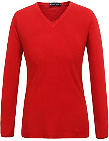 Camii Mia Women's V Neck Long Sleeve Jumper Sweater (X-Large, Red)